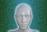 humanoid robot in front of binary code background